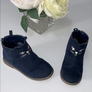 Toddler girl gap blue cat booties size 9
